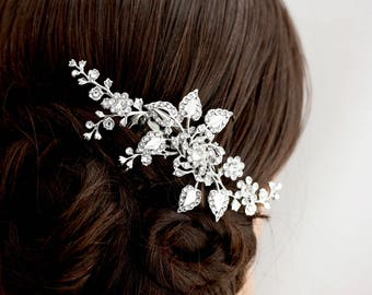 Bridal Hair Comb Wedding Hair Piece Wedding Hair Accessories Floral Side Comb for Garden Wedding Spring Bride Modern Rustic HARLOW VINE