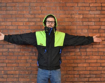 Wicked Legit Vintage 90's Columbia Radial Sleeve Neon Green Ski Jacket