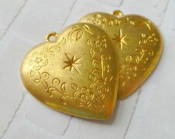 Two Vintage Heavy Brass Engraved Heart Pendants (5-23-2)
