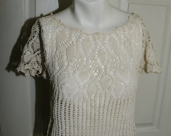 Vintage 1930s Hand Crochet Womans Top Small