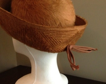 Vintage Brown Felted and Quilted Wool Hat