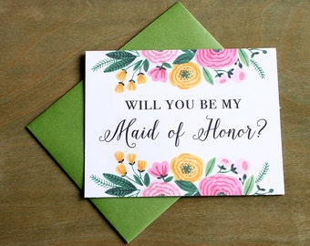 Will you be my Maid of Honor? Greeting Card Note Card - Maid of Honor, Matron of Honor, Bridesmaid Ask Card with Metallic Envelope