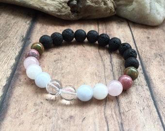 Fertility Oil Diffuser Bracelet, Moonstone, Lava Rock Bracelet, Fertility Goddess, Fertility Crystals, Aromatherapy Fertility Hope Bracelet