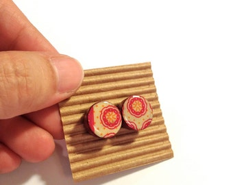 Cute Stud Earrings - Pink and White - Wooden Earrings - Faux Plugs - Graphic Prints