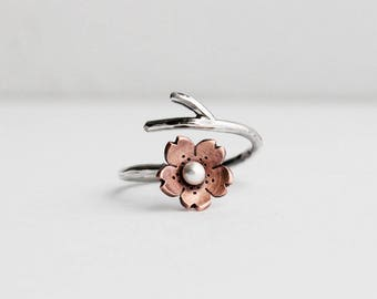 Cherry Blossom Branch, Twig Jewelry, Spring Jewelry, Silver ring, 1 ring  MADE to ORDER, Twig Ring, Branch Ring, POINTED petals