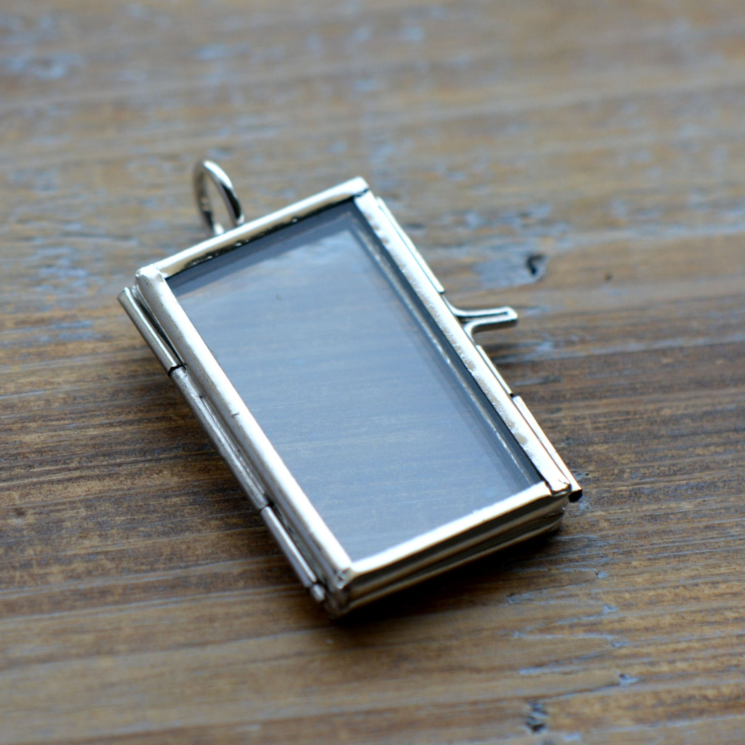 SILVER Glass Frame Pendant RECTANGLE Shape Double Sided Glass Hinged ...
