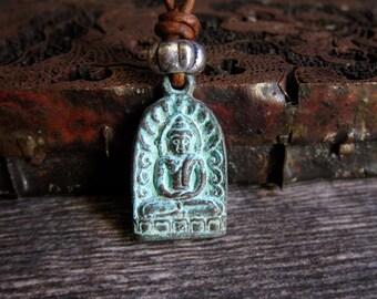Men's Necklace,Mens Leather Necklace,Buddha Necklace,Leather Necklace,Mens Jewelry,Mens Necklace,Buddhist Jewelry,Buddha Pendant,Amulet