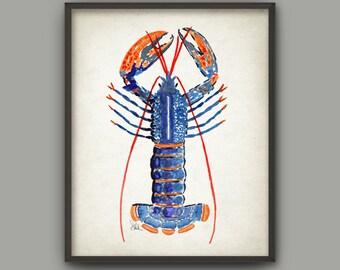 Lobster Art Print, Watercolor Marine Lobster Painting, Crustacean, Colorful Lobster Bathroom Decor, Nautical Seaside Beach House Poster B299