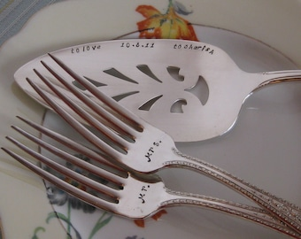 Cake server/forks Wedding, Vow Renewal or Anniversary Silverplated Hand Stamped Cake Pie Server & Fork Set