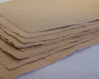 Eight Creamy Smooth Beige Colored Hand Made Paper Scrapbooking Paper 8 1/2 x 11