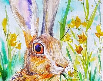 Red Hare original watercolor painting woodland animals bunny rabbit nursery decor wall art kids animals art wildlife gift for her boy's room