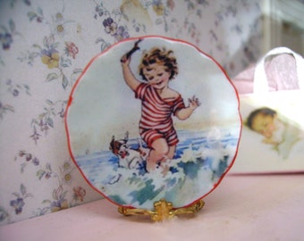 Childhood Scene Miniature Plate for Dollhouse 1:12 scale