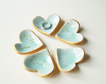 Wedding Favors, Ceramic Heart , 5 pieces, Little Heart Bowl, Wedding Party Favors, Ceramics and Pottery, Turquoise Heart, Guest Gift