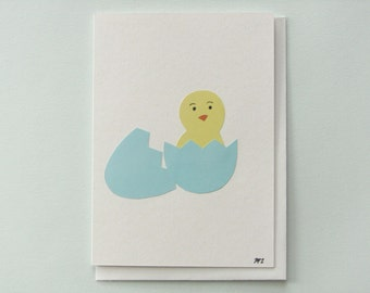 It's a Baby Chick - papercut collage card