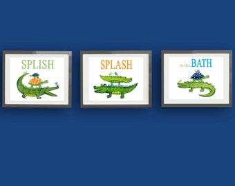 Nice Alligator Art, Alligator Bathroom Art, Bathroom Alligator Art Prints,  Children Bathroom Art
