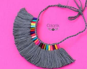 Tassel necklace, grey multi tassel necklace, mexican jewelry, mexican necklace, colorful necklace.