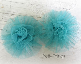 Dark Mint Green Tulle Flowers. 2 Pieces.