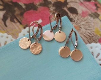 Rose Gold Earrings, Hammered Earrings, Leverback Earrings, Rose Gold Jewelry Minimal Modern Earrings Round Coin Circle Disc Disk Drop Dangle