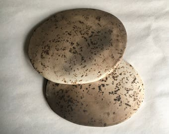 """pair of smoked earthenware shallow bowls, 4"""" dia"""