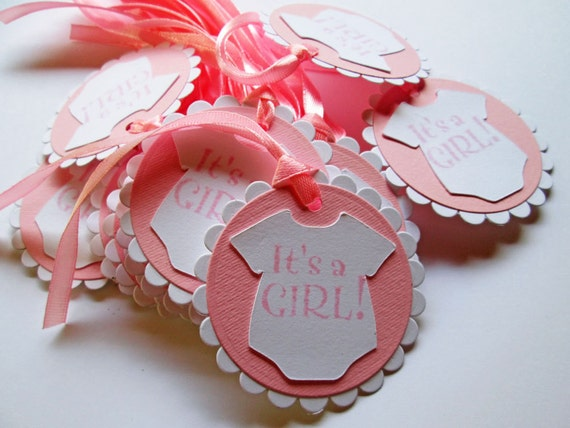 20 Pink Baby Shower Gift Tags Its A Girl Baby Girl Favor Tag