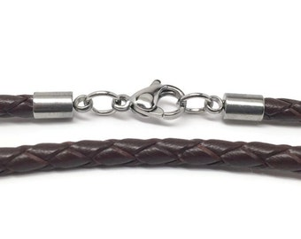 Brown Leather Necklace Cord, Braided Necklace Cord, 3mm, Stainless Steel Lobster Clasp