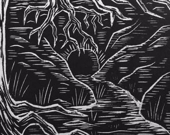 DARK CAVERN linocut print (Troll Forest Series)