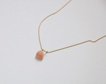 Pink Opal Necklace - Gold Gemstone Necklace - Trillion Cut Opal Necklace - Gold Fill or 14k Gold - Bohemian Necklace - October Birthstone