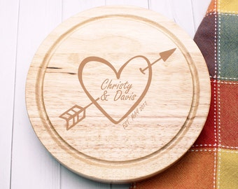 Heart and Arrow Engraved Gourmet 5pc. Cheese Board Set (ppdc10)