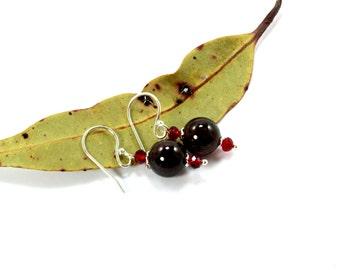 Garnet Earrings, January Birthstone, Crystal Earrings, Bohemian Earrings, Garnet, Sterling Silver Earrings, Swarovski Crystal, Boho Earrings