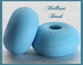 """Robins Egg Blue Turquoise """"Sea Glass"""" Spacer Bead Pair...Handmade Lampwork Beads SRA, Made To Order"""
