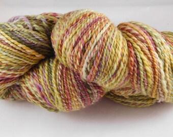 Handspun Coopworth Cherry Tree Hill Dyed Green/Yellow/Orange/Red Worsted Yarn