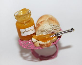 Breakfast Ring - Honey Ring - Food Ring - Miniature Food Jewelry