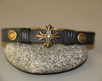 Bracelet cross leather vintage man and bronze texan style