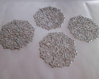 x 10 round silver filigree print matte 35 mm