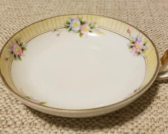 Hand Painted Floral Nippon Small Round Handled China Dish