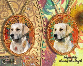 Golden Retriever Jewelry Pendant - Brooch Handcrafted Porcelain by Nobility Dogs - Gustav Klimt and Van Gogh