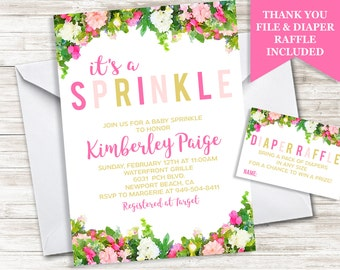 Floral Baby Sprinkle Invitation Invite Digital Personalized 5x7 Garden Shower Girl Watercolor Flowers