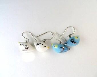 Tiny Bird Earrings Dangle Cute Bird Jewelry Bird Lover Gift Bird Blue Bird Earrings White Bird Porcelain Jewelry Fun Animal Dainty Bird