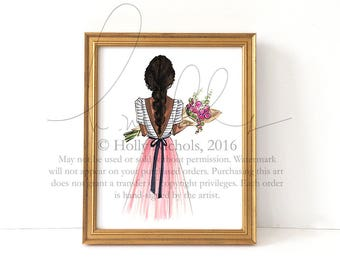 Bouquet (Select The Hair Color and Skintone) Fashion Illustration Print