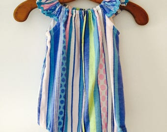 Girls flutter sleeve romper frilly sleeve, blue, pink and white striped romper 100% brushed stripped cotton