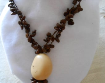 Coffee Beans and Tagua Nut Necklace .