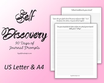 Self Discovery Printable - 90 days of Journal Prompts - US Letter - A4