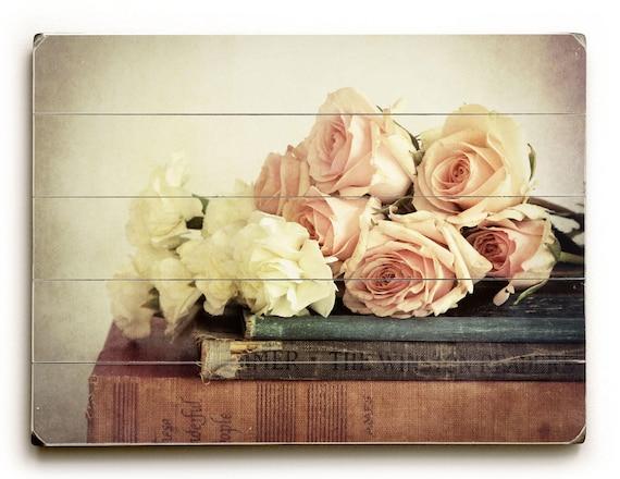 Wood Wall Art Vintage Style Decor Wood Sign Flowers on