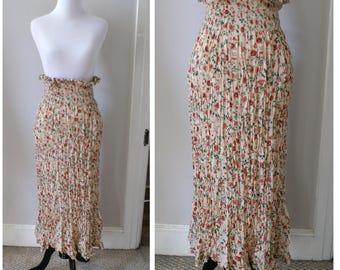 Vintage 1980s Hippie Boho Floral Skirt