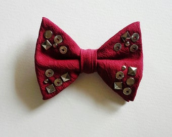 Studded Bowtie, Vintage Bow Tie, Red Bowtie
