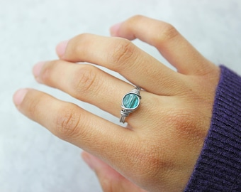 Blue Dainty Ring - Crystal Ring - Stainless Steel Ring - Dainty Ring - Boho Rings - Wire Wrapped Ring - Promise Ring - Rings For Women