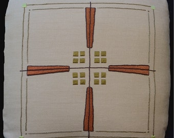 Embroidery Kit for the Craftsman Prairie Cross Pillow