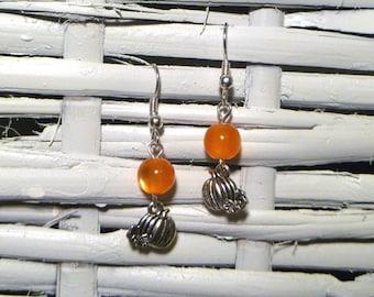 Silver Plated Pumpkin Earrings with Orange Cat's Eye Pearls