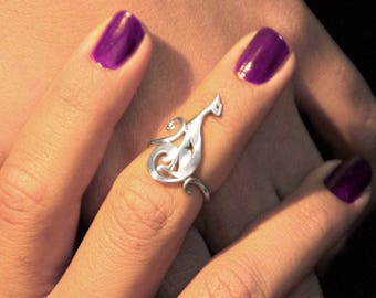 Divine cat ring, silver cat ring, cat jewelry, kitten ring, intuition ring, sterling silver cat, fox jewelry, fox ring, silver fox ring