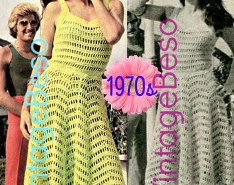 Sexy Summer Dress Vintage Crochet PATTERN Ladies 1970s • Retro Dress Pattern • VintageBeso • Instant Download • PDF Pattern